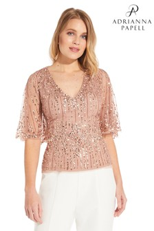 Adrianna Papell Beaded Cape Sleeve Top