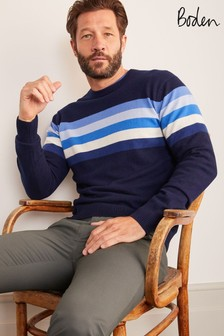 Boden Blue Colourblock Stripe Cashmere Crew Neck Jumper
