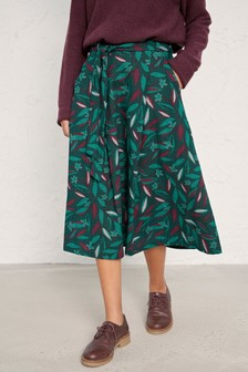 Seasalt Green Trailing Leaves Thicket Moorcroft Skirt