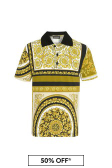 Versace Boys Gold Cotton Polo Shirt