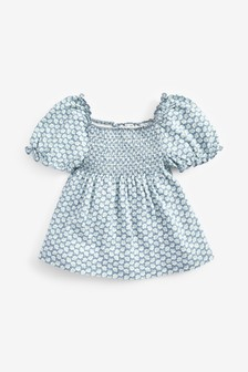 Shirred Puff Sleeve Top (3mths-7yrs)