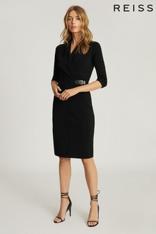 Reiss Black Luisa Knitted Wrap Dress