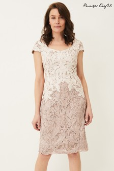 Phase Eight Brown Jennifer Tapework Lace Dress