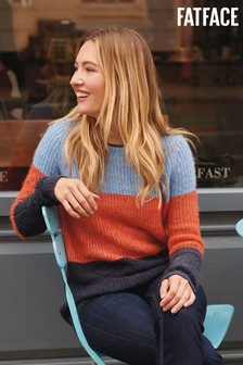 FatFace Orange Primrose Colourblock Jumper