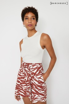 Warehouse Brown Zebra Print Paperbag Short