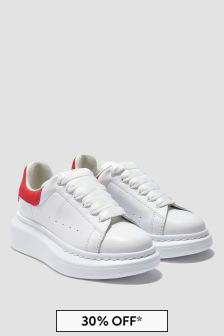 Kids White And Red Leather Trainers