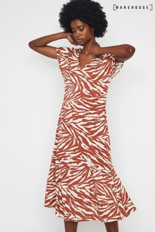 Warehouse Brown Tiger Oversized Midi Dress