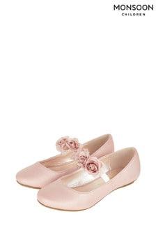 Monsoon Pink Dora Corsage Strap Ballerinas