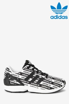 adidas Originals Black/White Print ZX Flux Youth Trainers