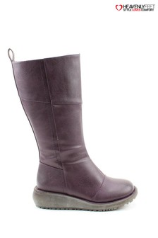Heavenly Feet Purple Robyn Plum Tall Lace Boots