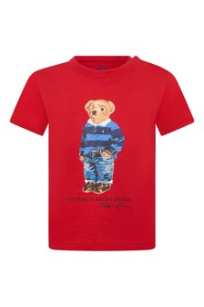 Baby Boys Red Cotton Jersey Bear T-Shirt