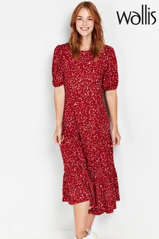 Wallis Red Confetti Print Frill Hem Midi Dress