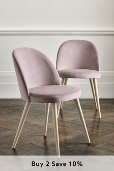 Set of 2 Zola Dining Chairs With Washed Legs