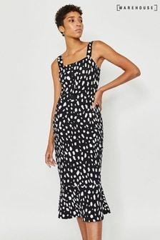 Warehouse Black Brushed Spot Flippy Midi Dress