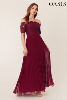 Oasis Red Lace Bardot Maxi Dress