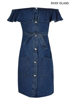 River Island Blue Denim Bardot Dress