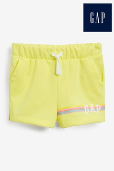 Gap Yellow Logo Rainbow Stripe Shorts