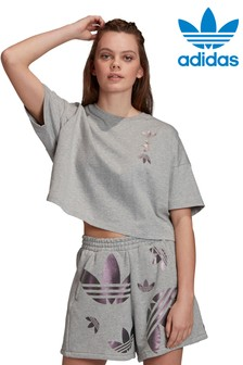 adidas Originals Grey Repeat Logo Cropped T-Shirt