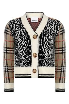Girls Leopard Print Wool Cardigan