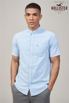 Hollister Blue Short Sleeve Oxford Shirt