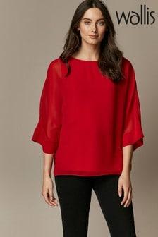 Wallis Red Sheer Overlay Blouse