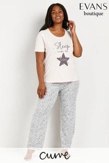 Evans Curve Grey Star Print Pyjamas