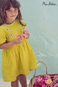 Boden Yellow Embroidered Boho Dress