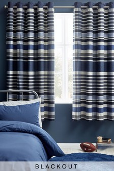 Check Print Eyelet Blackout Curtains