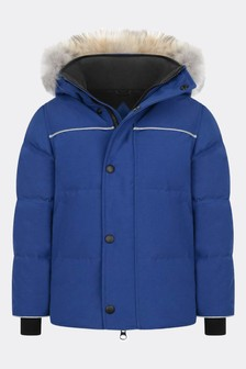 Boys Blue Snowy Owl Parka Coat