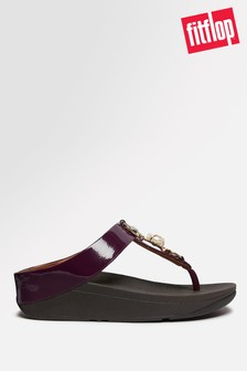 FitFlop™ Fino Embellished Crinkle Patent Toe Post Sandals