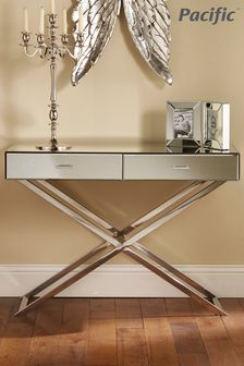 Pacific Lifestyle Silver Mirrored Glass Metal Console Table