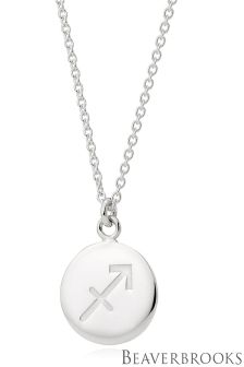 Beaverbrooks Silver Sagittarius Disc Necklace