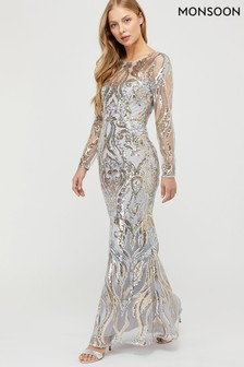 Monsoon Silver Lily Gold Sequin Maxi Dress