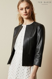 Ted Baker Morisr Zig Zag Edge Crop Leather Jacket