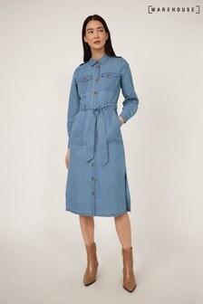 Warehouse Blue Belted Utility Shirt Dress