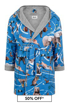 Boy's Blue Organic Cotton Athletic Animals Bath Robe