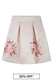 Girls Pink Floral Print Skirt