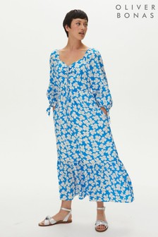 Oliver Bonas Blue Floral Ruched Square Neck Midi Dress
