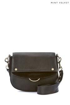 Mint Velvet Black Blair Ring Saddle Bag