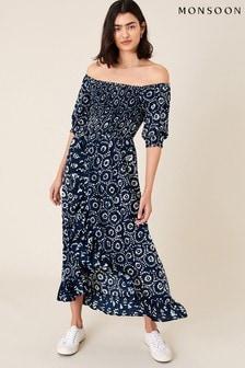 Monsoon Blue Esha Printed Dress