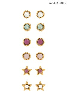 Accessorize Gold Tone 12 x Stud Earrings Set With Swarovski® Crystals