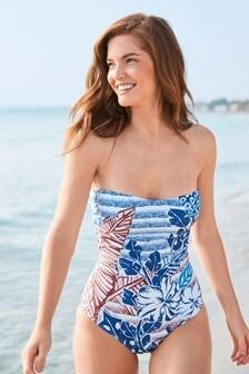 Shape Enhancing Placement Print Bandeau Swimsuit
