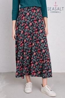 Seasalt Stratus Skirt II Stitched Camellia Dark Night