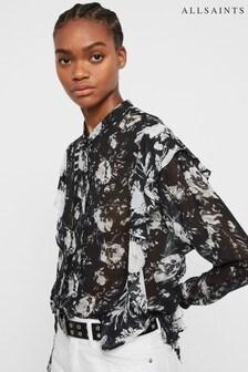 AllSaints Black Floral Kiti Blouse