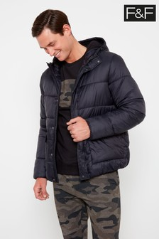 F&F Black Padded Hooded Jacket