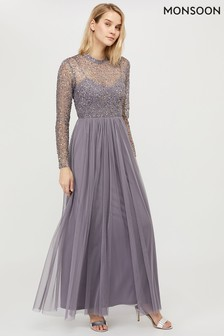 Monsoon Ladies Grey Otta Sequin Maxi Dress