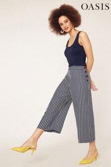 Oasis Natural Stripe Button Crop Wide Leg Trouser