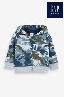 Gap Blue Camouflage Zip Through Hoodie