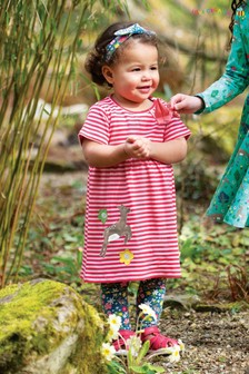 Frugi GOTS Organic Pink Jersey Dress With A Deer Appliqué
