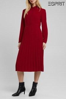 Esprit Midi Dress With Pleated Skirt